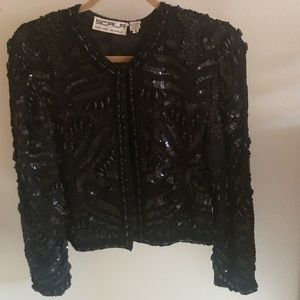 🍒🧨 Exquisite vintage beaded jacket